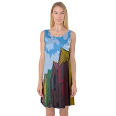 Brightly Colored Dressing Huts Sleeveless Satin Nightdress