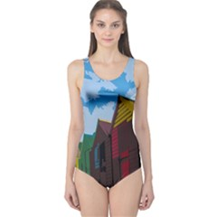 Brightly Colored Dressing Huts One Piece Swimsuit