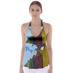 Brightly Colored Dressing Huts Babydoll Tankini Top