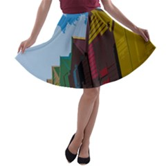 Brightly Colored Dressing Huts A Line Skater Skirt