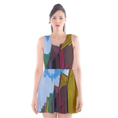 Brightly Colored Dressing Huts Scoop Neck Skater Dress