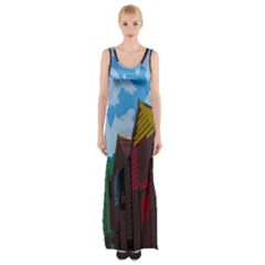 Brightly Colored Dressing Huts Maxi Thigh Split Dress