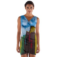 Brightly Colored Dressing Huts Wrap Front Bodycon Dress