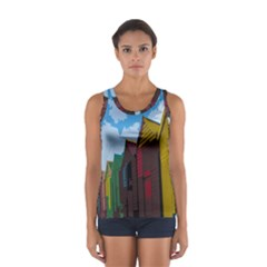 Brightly Colored Dressing Huts Women s Sport Tank Top