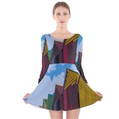 Brightly Colored Dressing Huts Long Sleeve Velvet Skater Dress