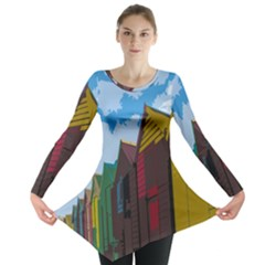 Brightly Colored Dressing Huts Long Sleeve Tunic
