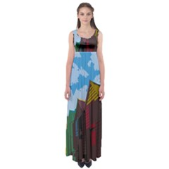 Brightly Colored Dressing Huts Empire Waist Maxi Dress