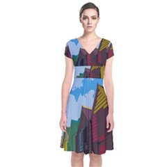 Brightly Colored Dressing Huts Short Sleeve Front Wrap Dress