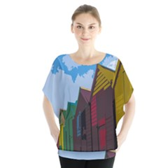 Brightly Colored Dressing Huts Blouse