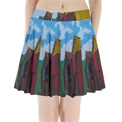 Brightly Colored Dressing Huts Pleated Mini Skirt