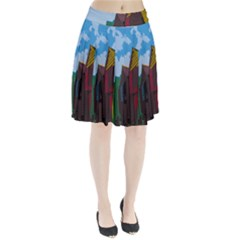 Brightly Colored Dressing Huts Pleated Skirt
