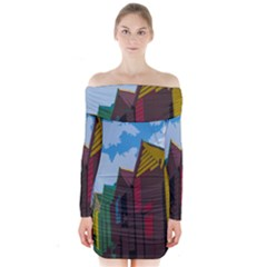 Brightly Colored Dressing Huts Long Sleeve Off Shoulder Dress