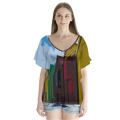 Brightly Colored Dressing Huts Flutter Sleeve Top