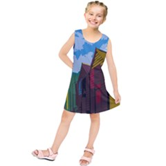 Brightly Colored Dressing Huts Kids  Tunic Dress