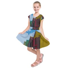 Brightly Colored Dressing Huts Kids  Short Sleeve Dress