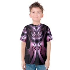 Angry Mantis Fractal In Shades Of Purple Kids  Cotton Tee
