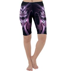 Angry Mantis Fractal In Shades Of Purple Cropped Leggings