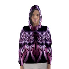 Angry Mantis Fractal In Shades Of Purple Hooded Wind Breaker (Women)