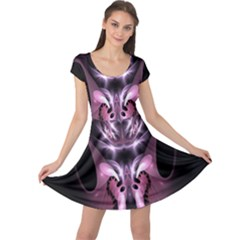 Angry Mantis Fractal In Shades Of Purple Cap Sleeve Dresses