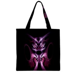 Angry Mantis Fractal In Shades Of Purple Zipper Grocery Tote Bag
