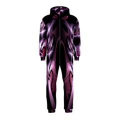 Angry Mantis Fractal In Shades Of Purple Hooded Jumpsuit (kids)