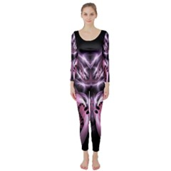 Angry Mantis Fractal In Shades Of Purple Long Sleeve Catsuit