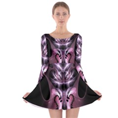 Angry Mantis Fractal In Shades Of Purple Long Sleeve Skater Dress