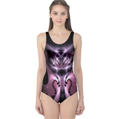 Angry Mantis Fractal In Shades Of Purple One Piece Swimsuit