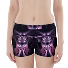 Angry Mantis Fractal In Shades Of Purple Boyleg Bikini Wrap Bottoms