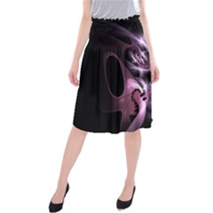 Angry Mantis Fractal In Shades Of Purple Midi Beach Skirt