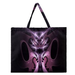 Angry Mantis Fractal In Shades Of Purple Zipper Large Tote Bag