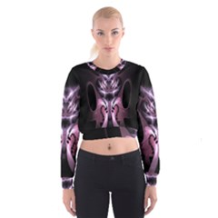 Angry Mantis Fractal In Shades Of Purple Cropped Sweatshirt