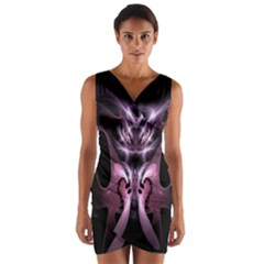 Angry Mantis Fractal In Shades Of Purple Wrap Front Bodycon Dress