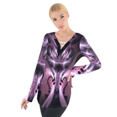 Angry Mantis Fractal In Shades Of Purple Women s Tie Up Tee