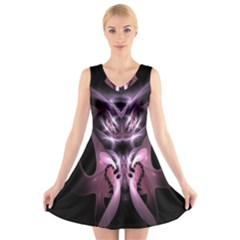 Angry Mantis Fractal In Shades Of Purple V-Neck Sleeveless Skater Dress
