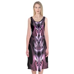 Angry Mantis Fractal In Shades Of Purple Midi Sleeveless Dress