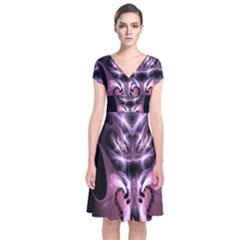 Angry Mantis Fractal In Shades Of Purple Short Sleeve Front Wrap Dress