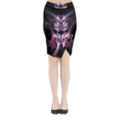 Angry Mantis Fractal In Shades Of Purple Midi Wrap Pencil Skirt