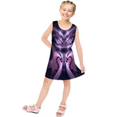 Angry Mantis Fractal In Shades Of Purple Kids  Tunic Dress