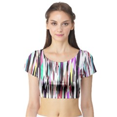 Randomized Colors Background Wallpaper Short Sleeve Crop Top (Tight Fit)