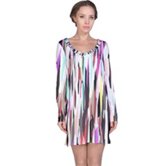 Randomized Colors Background Wallpaper Long Sleeve Nightdress