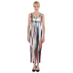 Randomized Colors Background Wallpaper Fitted Maxi Dress