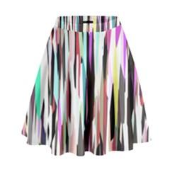 Randomized Colors Background Wallpaper High Waist Skirt
