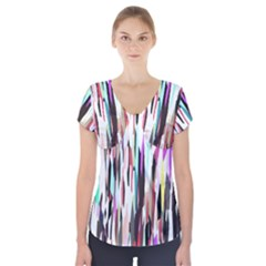 Randomized Colors Background Wallpaper Short Sleeve Front Detail Top