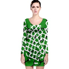 Abstract Clutter Long Sleeve Bodycon Dress