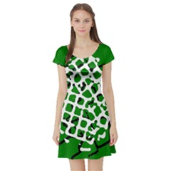 Abstract Clutter Short Sleeve Skater Dress