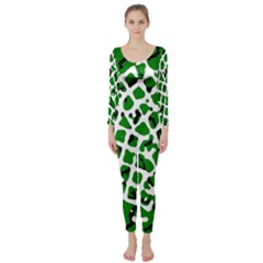 Abstract Clutter Long Sleeve Catsuit