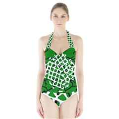 Abstract Clutter Halter Swimsuit