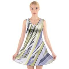 Wavy Ribbons Background Wallpaper V Neck Sleeveless Skater Dress
