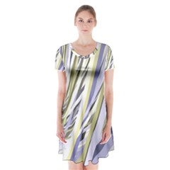Wavy Ribbons Background Wallpaper Short Sleeve V-neck Flare Dress